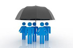 People standing under an umbrella