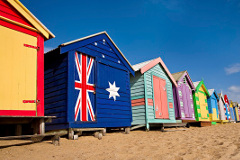 Colourful cabins on the beach